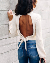 Sexy backless high neck long sleeve short knit sweater