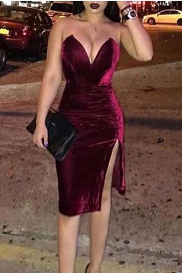 Sexy Deep V Pure Colour Velvet Slit Slim Evening Dress Claret s