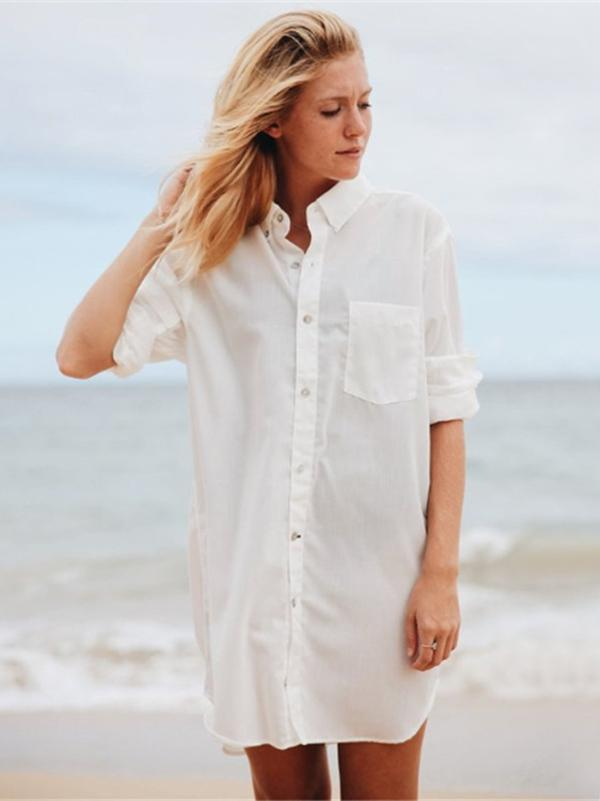 Stylish Vovo Beach Solid Sun-proof Shirt Cover-ups