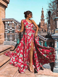 Bohemia Floral One-Shoulder Split Maxi Dress RED M