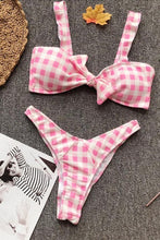 Sexy Bikini Plaid Bow Split Swimsuit