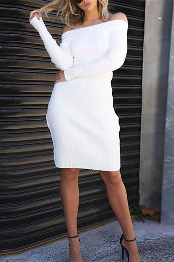Elegant Chic Slim Plain Off Shoulder Long Sleeve Bodycon Dress White one size