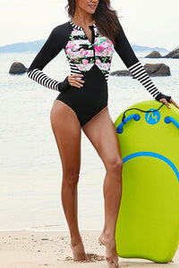Sexy surf suit long-sleeved swimwear quick-drying triangle one-piece swimsuit Black s