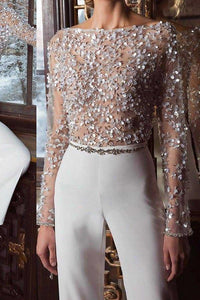 Fashion Elegant Pure Colour Splicing Sequins Jumpsuits White s