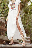 Deep V Neck Lace Up Embroidery Vacation Dress white one size