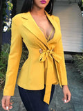 Fashion Long Sleeve   Frenulum Shown Thin Suit  Jacket Coat Yellow l