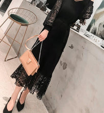 Fashion Sexy Lace Hollowed Out Slim Long Sleeve Maxi Dress