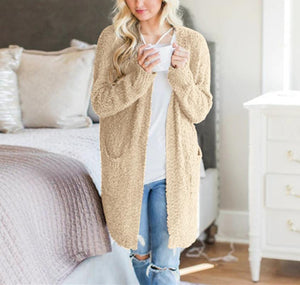 Winter fashion   four-color long-sleeved cardigan pocket sweater Yellow m
