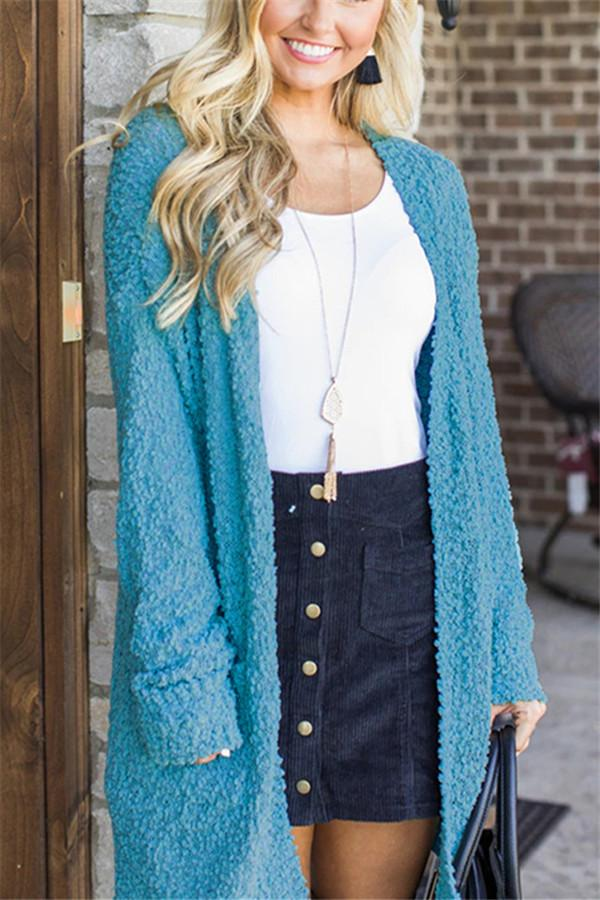 Winter fashion   four-color long-sleeved cardigan pocket sweater Sky Blue s