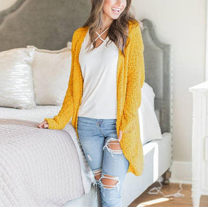 Winter fashion   four-color long-sleeved cardigan pocket sweater Sky Blue xl