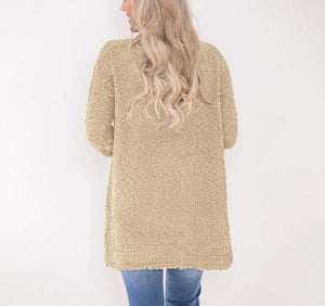 Winter fashion   four-color long-sleeved cardigan pocket sweater Yellow l