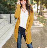 Winter fashion   four-color long-sleeved cardigan pocket sweater Khaki xl