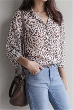 Fashion Loose Lapel Leopard Print Long Sleeve Shirt Blouse