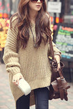 Maternity Batwing Irregular Hem Hooded Sweater khaki one size