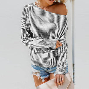 One Shoulder  Striped  Batwing Sleeve T-Shirts stripe m