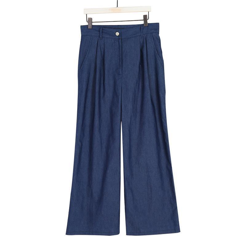 Solid Color Tie Wide Leg Pants dark_blue 2xl