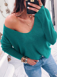 Loose 6 Colors Long Sleeves Sweater Tops RED S
