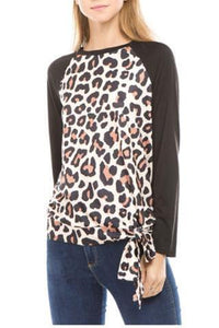 Fashion Round Collar Leopard Printed Blinding  Shirt Black m