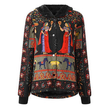 Vintage Printing Hooded Coats For Women