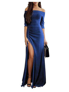 Casual Sexy low breast split One collar evening Maxi Dresses Dark Blue m