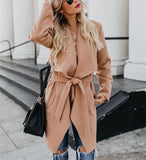 Fashion Pure Color   Long Sleeve Slim Coat Over A Windbreaker Khaki l
