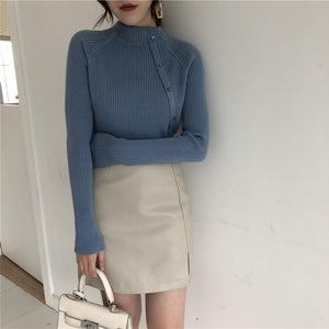 Fashion Long Sleeves   Half High Collar Shown Thin Knitted Sweater Black one size