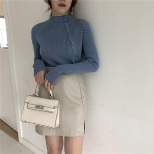 Fashion Long Sleeves   Half High Collar Shown Thin Knitted Sweater White one size