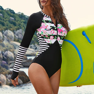 Sexy surf suit long-sleeved swimwear quick-drying triangle one-piece swimsuit Black l