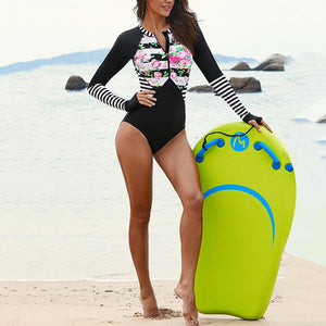 Sexy surf suit long-sleeved swimwear quick-drying triangle one-piece swimsuit Black 2xl