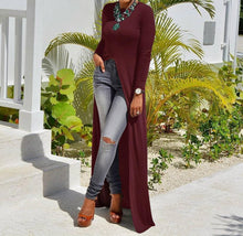 Fashion Sexy High Slit Long-Sleeved Dress