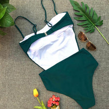 Sexy low-cut strapless halter bikini one-piece swimsuit