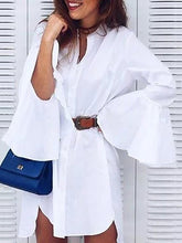 Fashion Bell Sleeve Irregular Pure Colour Shirt
