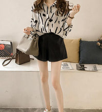 Fashion Doodle Printed Long Sleeve Loose Shirt