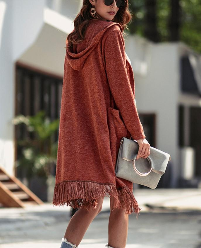 slim long sleeve long   knitted cardigan jacket coat Brown m