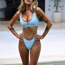 Sexy bikini solid color split swimsuit