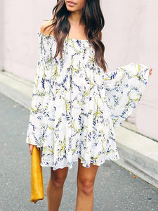 Floral Off-the-shoulder Ruffled Mini Dress S