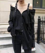 Strap Vertical Stripes Strapless Long Sleeve Loose Shirt