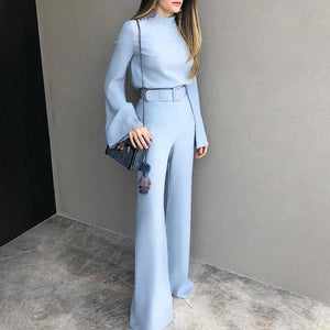 Fashion Pure Colour Half High Collar Blue Suit Blue xl