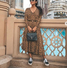 Casual Fashion Sexy Leopard-Print Holiday Dress With A V-Neck Maxi Dress