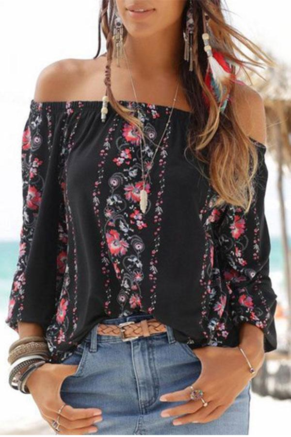 Fashion Off-Shoulder Floral  Long Sleeve T-Shirt black s