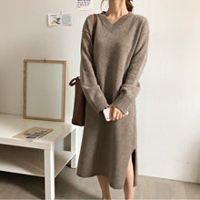 Fashion V Neck Split Loose Shown Thin Knitted Sweater Maxi Dress