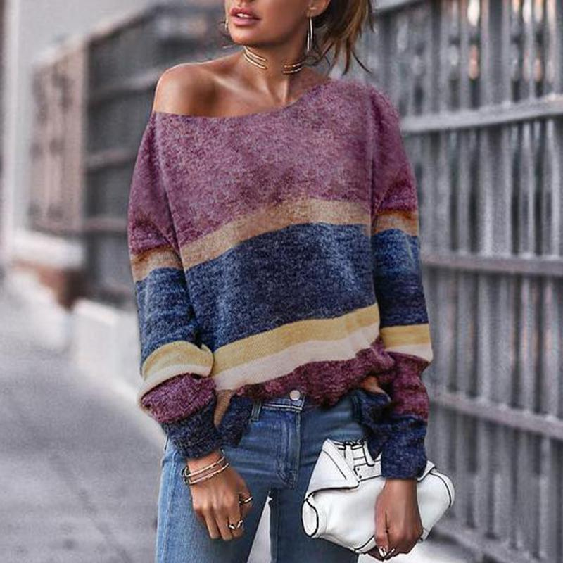 Fashion Off Shoulder Stripe Long Sleeve Sweaters same_as_photo m