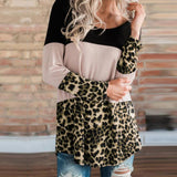 Fashion Leopard Print   Colour Matching Lace Long Sleeve T Shirt Blouse Black m