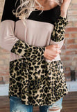 Fashion Leopard Print   Colour Matching Lace Long Sleeve T Shirt Blouse Black l