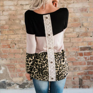 Fashion Leopard Print   Colour Matching Lace Long Sleeve T Shirt Blouse Black xl