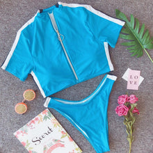 Sexy bikini zipper short-sleeved split swimsuit