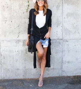 Casual cut button knit   Long cardigan jacket coat Black m