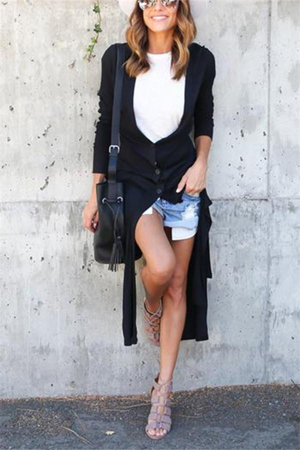 Casual cut button knit   Long cardigan jacket coat Black s