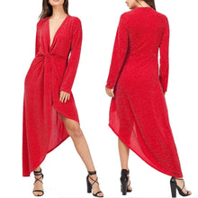 Casual Sexy V Collar Long Sleeved Thin Off Shoulder Maxi Dress