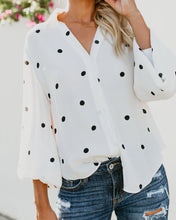 Fashion Shown Thin Wave Point Printed Long Sleeve Shirt Blouse